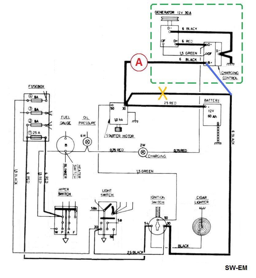 sw em electrical ramblings extract from the 122 wiring diagram showing correct electrical location of amp meter at red note relocation of one black wire from terminal 30 of starter