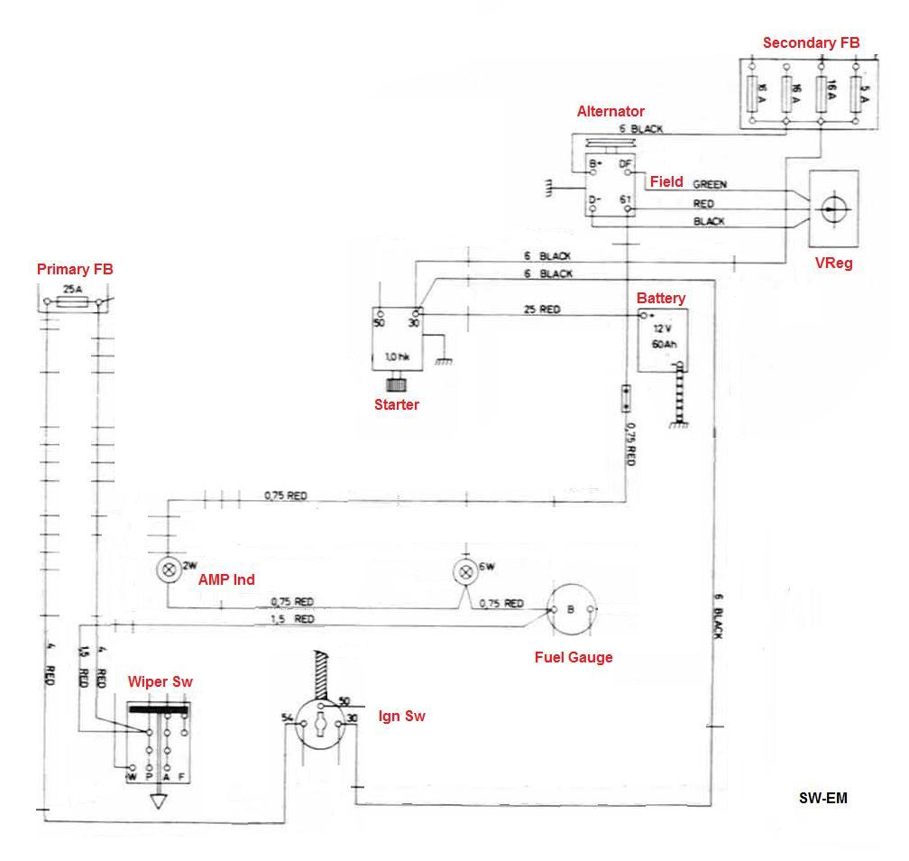 123GT Wiring Diagram excerpt with (Alternator based) Charging System relevant components and connections shown. AMP Indicator and Charging System initial ...