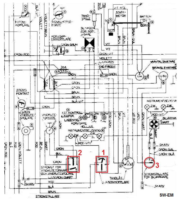 1800 light switch wiper switch fan switch drawing corrections 1800 factory wiring diagram extract incorrectly shown internal connections of 1 light switch 2 wiper switch 3 fan switch highlighted