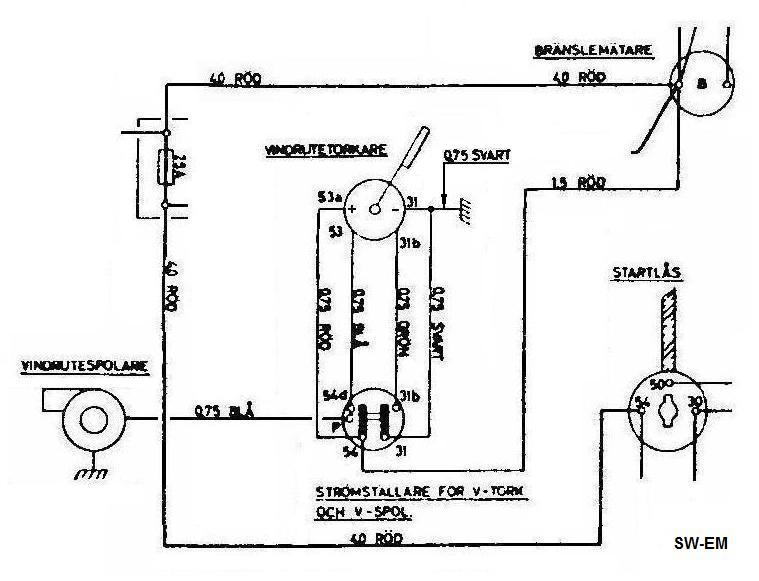 sw em 544 wiper info extract from 12v 544 wiring diagram showing wiper related components and connections four wires connect switch to motor assy to allow dynamic braking