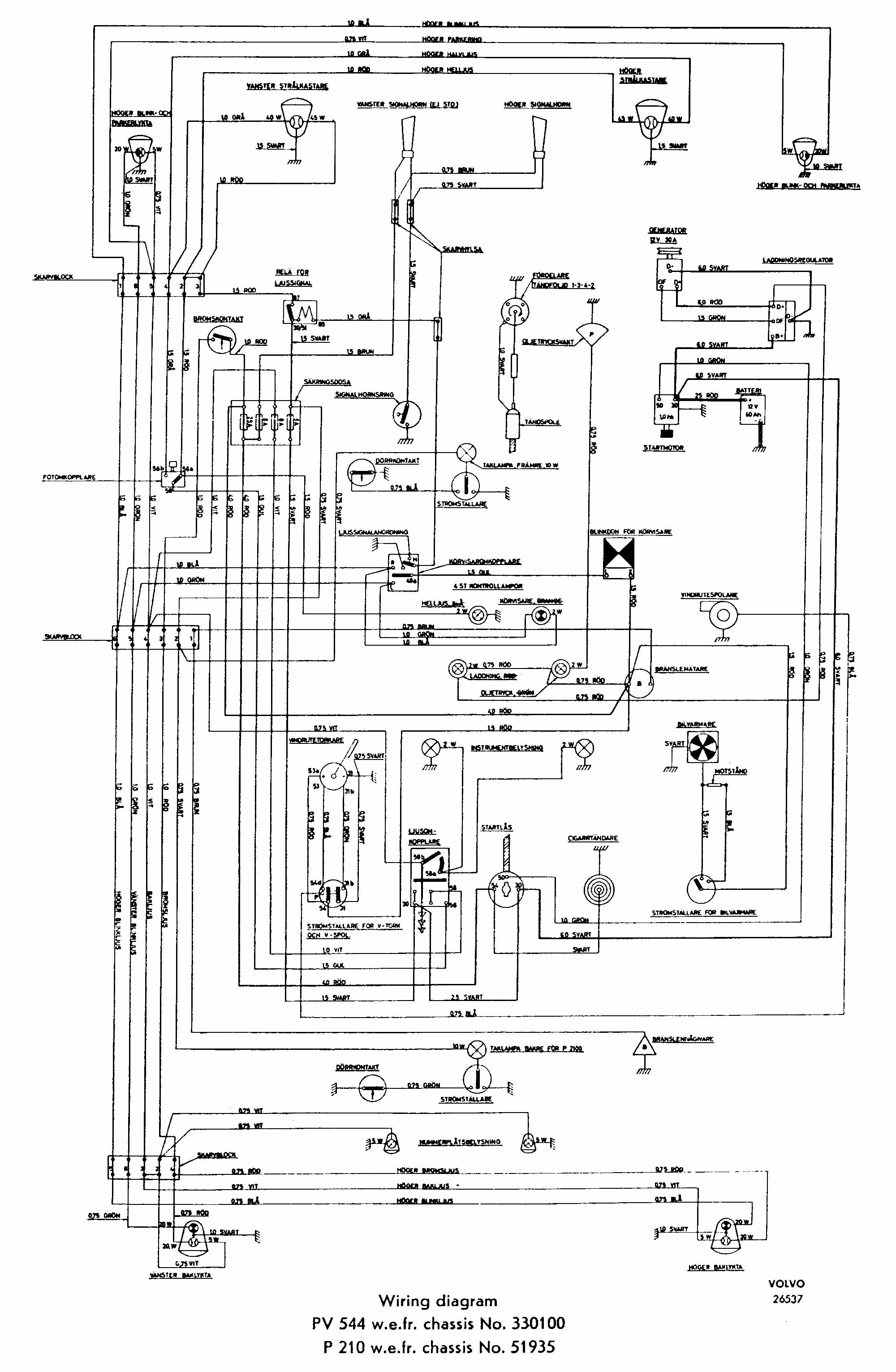 extract from 12v 544 wiring diagram, showing wiper related