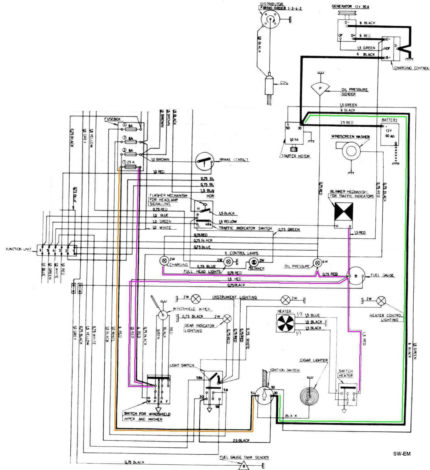 IGN SW wiring diag 122 markup car ignition switch wiring diagram universal ignition switch 1979 volvo 242 dl wiring diagram at aneh.co