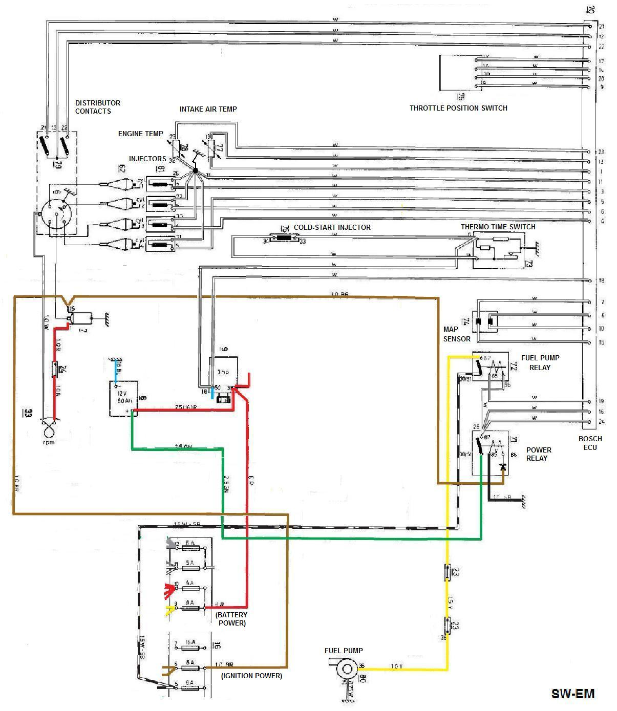 Sw Em Bosch D Jet Notes Fuel Gauge Wiring Diagram Schematic Shown Below Is The Later Arrangement There No Ecu Controlled Relay But A Thremo Time Switch Located On Cylinder Head And Also Sensing Coolant