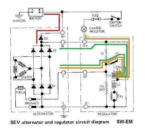 Sw em 123gt charging system notes bosch and sev based charging system circuits showing similarities and differences initial source of field current path through charge indicator is shown in cheapraybanclubmaster Gallery