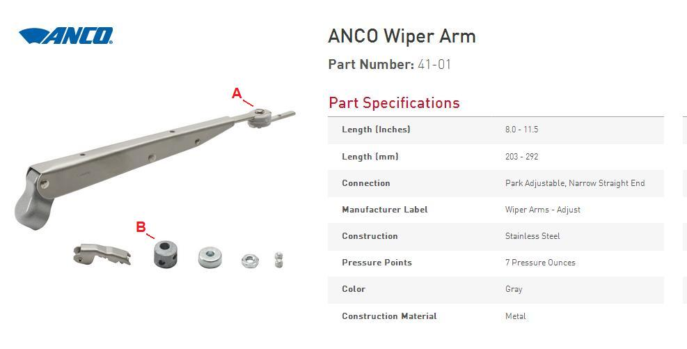 Anco Wiper Blades >> SW-EM Wiper Arm and Blades Notes